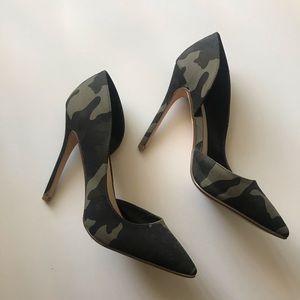 Camo pointed heels